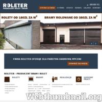 Firma Roleter jest Producentem Rolet oraz zajmuje się montażem, serwisem rolet i żaluzji. Nasza wieloletnie doświadczenie gwarantuje profesjonalną i pełną obsługę serwisową. Oferujemy bezpłatny dojazd do Klienta na terenie Śląska oraz udzielenie bezpłatnej wyceny. Szeroka oferta towarowa, jakościowa i cenowa, położenie firmy, infrastruktura i zatrudnienie wykwalifikowanej kadry pozwala na terminową realizację nawet bardzo dużych zamówień. Na wszystkie usługi firma udziela gwarancji. Przy pomiarze u klienta zabieramy wzorniki materiałów oraz kolorów które mamy w ofercie. Działamy głównie na terenie Śląska - Katowice, Chorzów, Siemianowice, Mysłowice, Czeladź, Będzin, Zabrze, Bytom, Piekary Śląskie, Tychy, Mikołów, Gliwice, Ruda Śląska, Pszczyna, Kobiór, Wyry, Sosnowiec. ./_thumb/roleter.pl.png