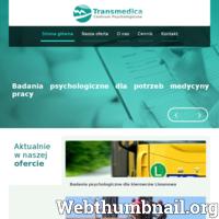 Serdecznie zapraszamy na stronę internetową centrum psychologicznego Transmedica znajdującego się w Limanowej. Oferujemy najwyższej jakości usługi z zakresu psychologii. W naszej ofercie znajdą Państwo: badania psychologiczne dla kierowców, badania psychologiczne dla medycyny pracy, psychoterapia oraz diagnozę psychologiczna. Chcesz dowiedzieć się więcej? Zajrzyj na naszą stronę! ./_thumb/www.transmedica24.pl.png