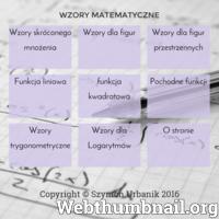 Na stronie znajduje się lista wzorów matematycznych. Można tu znaleźć wzory funkcji liniowej, kwadratowej oraz pochodnych funkcji, a także na pola figur płaskich i przestrzennych.  ./_thumb/www.wzory-matematyczne.pl.png