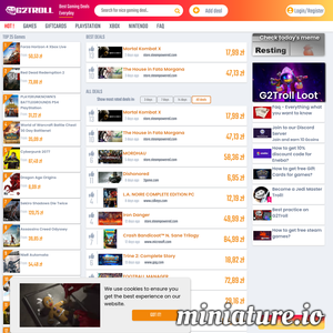 G2troll compares prices for video games across the globe. Moreover we show you how to get free games and big discounts at our platform. Interact with us and be rewarded for it. / game product codes / gifrcards. Xbox, PlayStation, Steam, Origin, Uplay, Battle.net ./_thumb1/g2troll.com.png