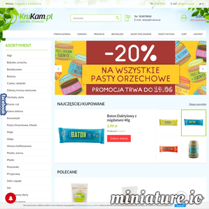 KruKam to sklep internetowy, który zajmuje się sprzedażą zdrowej żywności. W ofercie można znaleźć wiele wysokiej jakości produktów  ze zdrową żywnością. Warto dodać, że sklep specjalizuje się w sprzedaży wysokiej jakości past orzechowych.
