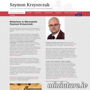 Notariusz Szymon Krzyszczuk prowadzi kancelarię w Warszawie na ul. Chopina5a oraz posiada uprawnienia tłumacza przysięgłego języka angielskiego. Zapraszamy w godz 10-16 +48 22-881-69-11